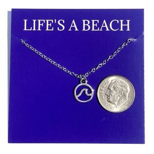 Jewelry - Life's A Beach Silver Wave Pendant Necklace